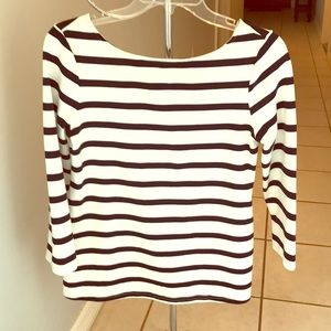 Dressy Tee Shirt, White w/black stripes
